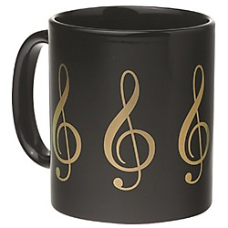 AIM Black/Gold Treble Clef Coffee Mug (1802)