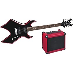 B.C. Rich Red Bevel Warlock Electric Guitar and Amp Pack (WGREBKPK)