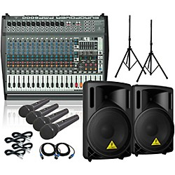 Behringer PMP6000 / B215XL Powered Mixer Mains & Mics Package (PMP6000B215XL)