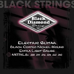 Black Diamond Black Coated Nickel Electric Guitar Strings (N477XLB)