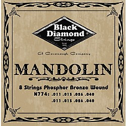 Black Diamond Black Coated Phosphor Bronze Mandolin Strings (N774B)
