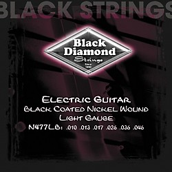 Black Diamond Light Gauge Black Coated Nickel Electric Guitar Strings (N477LB)