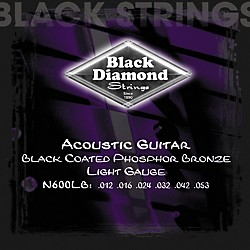 Black Diamond Light Gauge Black Coated Phosphor Bronze Acoustic Guitar Strings (N600LB)