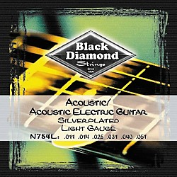 Black Diamond Light Gauge Silver-Plated Acoustic-Electric Guitar Strings (N754L)
