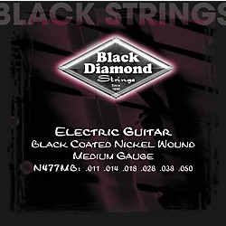 Black Diamond Medium Gauge Black Coated Nickel Electric Guitar Strings (N477MB)