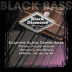 Black Diamond Medium Gauge Black Coated Roundwound Long Scale Bass Strings (N500MB)