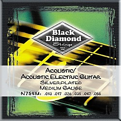 Black Diamond Medium Gauge Silver-Plated Acoustic-Electric Guitar Strings (N754M)