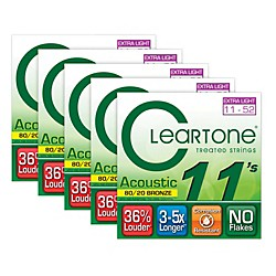 Cleartone 80/20 Bronze Coated Acoustic Guitar Strings Custom Light (5-Pack) (7611-5PK)