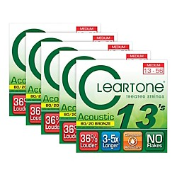 Cleartone 80/20 Bronze Coated Acoustic Guitar Strings Medium (5-Pack) (7613-5PK)
