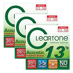 Cleartone Cleartone Coated Medium Acoustic Guitar Strings Buy 2 Get One Free (7413-3pk)