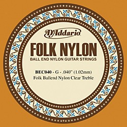 D'Addario BEC040 040 Folk Nylon Clear Ball End Single String (BEC040)