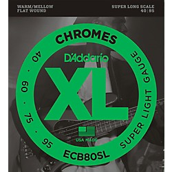 D'Addario ECB80SL Chromes Flat Wound Super Soft/Long Bass Strings (ECB80SL)