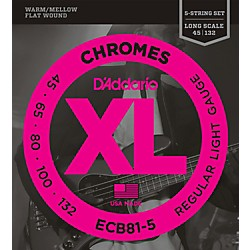 D'Addario ECB81-5 Chromes XL Flatwound Bass Strings - Light Gauge (ECB81-5)