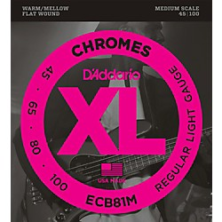 D'Addario ECB81M Chromes Flat Wound Electric Bass Strings Light Medium Scale (ECB81M)