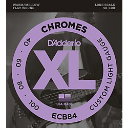 D'Addario ECB84 Chromes Flat Wound Custom Light Long Scale Electric Bass Strings (ECB84)