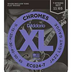 D'Addario ECG24-7 7-String Chrome Flat Wound Electric Guitar Strings (ECG24-7)