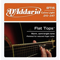 D'Addario EFT15 Flat Top PB Extra Light Acoustic Guitar Strings (EFT15)