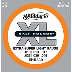 D'Addario EHR330 Half Round Extra Super Light Electric Guitar Strings (EHR330)