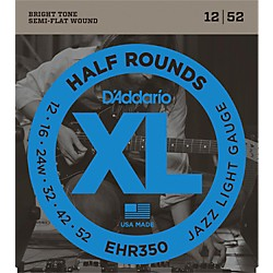 D'Addario EHR350 Half Round Jazz Light Electric Guitar Strings (EHR350)