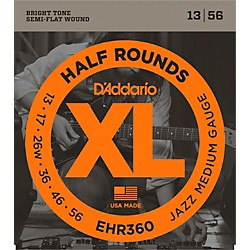 D'Addario EHR360 Half Round Jazz Medium Electric Guitar Strings (EHR360)