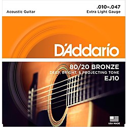 D'Addario EJ10 80/20 Bronze Extra Light Acoustic Guitar Strings (EJ10)