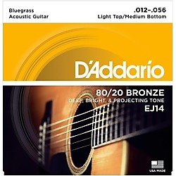 D'Addario EJ14 80/20 Bronze Bluegrass Medium Light Acoustic Guitar Strings (EJ14)