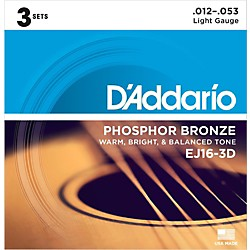 D'Addario EJ16-3D Phosphor Bronze Light Acoustic Guitar Strings (3-Pack) (EJ16-3D)