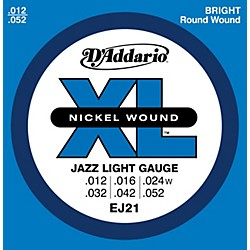 D'Addario EJ21 XL Nickel Jazz Light Electric Guitar Strings (EJ21)