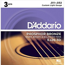 D'Addario EJ26-3D 3-Pack Custom Light Acoustic Guitar Strings (EJ26-3D)