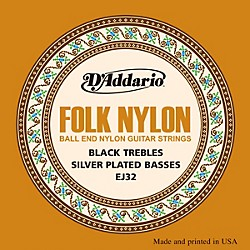 D'Addario EJ32 Folk Nylon Silver/Ball End Black Treble Guitar Strings (EJ32)