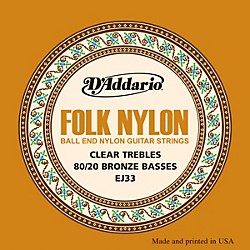 D'Addario EJ33 Folk Nylon 80/20 Bronze/Ball End Clear Treble Guitar Strings (EJ33)