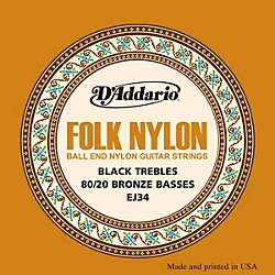 D'Addario EJ34 Folk Nylon 80/20 Bronze/Ball End Black Treble Guitar Strings (EJ34)