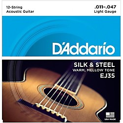 "D'Addario EJ35 Silk & Steel Silver Wound 12-String .011""-.047"" Guitar Strings (EJ35)"