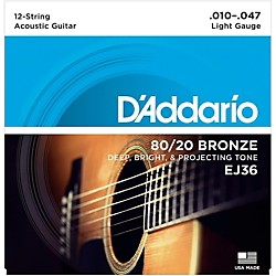 D'Addario EJ36 12-String 80/20 Bronze Light Acoustic Guitar Strings (EJ36)