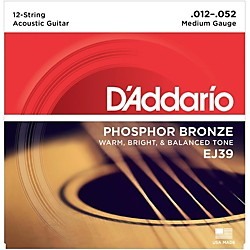 D'Addario EJ39 PB Medium 12-String Acoustic Guitar String Set (EJ39)