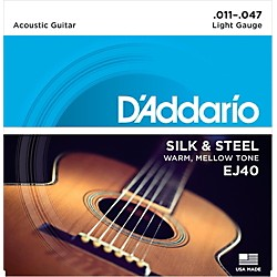 D'Addario EJ40 Silk and Steel Ball End Acoustic Folk Guitar Strings (EJ40)