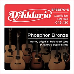 D'Addario EPBB170-5 Phosphor Bronze, Long-Scale, 5-String Acoustic Bass Guitar Strings (EPBB170-5)