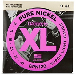 D'Addario EPN120 Pure Nickel Super Light Electric Guitar Strings (EPN120)