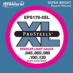 D'Addario EPS170-5SL  XL ProSteels Regular Light Super Long Scale 5-String Bass Strings (EPS170-5SL)