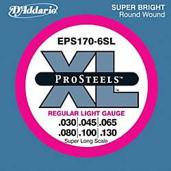 D'Addario EPS170-6SL Pro Steels Regular Light Super Long Scale 6-String Bass Strings (EPS170-6SL)