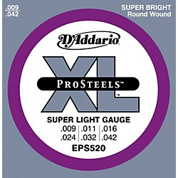D'Addario EPS520 ProSteels Super Light Electric Guitar Strings (EPS520)