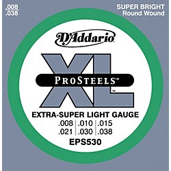 D'Addario EPS530 ProSteels Extra Super Light Electric Guitar Strings (EPS530)