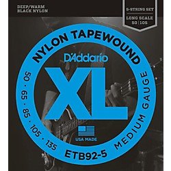 D'Addario ETB92-5 Medium Black Nylon Tapewound 5-String Bass Strings (ETB92-5)