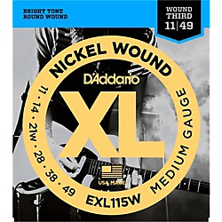 D'Addario EXL115W Nickel Blues/Jazz Wound 3rd Electric Guitar Strings (EXL115W)