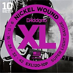 D'Addario EXL120 Nickel Super Light Electric Guitar Strings (10-Pack) (EXL120-10P)