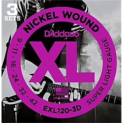 D'Addario EXL120 Nickel Super Light Electric Guitar Strings (3-Pack) (EXL120-3D)