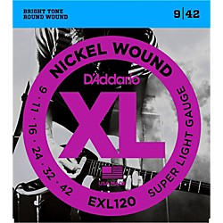 D'Addario EXL120 Nickel Super Light Electric Guitar Strings Single-Pack (EXL120)