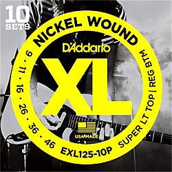D'Addario EXL125 Super Light Top/Regular Bottom Electric Guitar Strings 10-Pack (EXL125-10P)