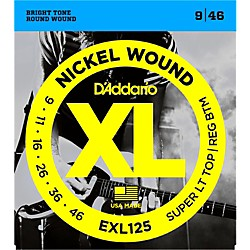D'Addario EXL125 Super Light Top/Regular Bottom Electric Guitar Strings (EXL125)