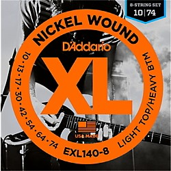 D'Addario EXL140 Light Top Heavy/Bottom 8-String Electric Guitar Strings (EXL140-8)